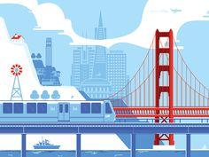 San Francisco BART illustration by Valerya Aranovich - Dribbble Train Illustration, Digital Illustration, Graphic Illustration, San Francisco Bridge, Train Vector, City Skyline Art, Trains, Construction Images, Train Art