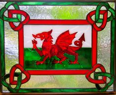 Fused Glass And Stained Glass Panel- Cymru Am Byth (Wales Forever) by Michelle Caron Making Stained Glass, Custom Stained Glass, Stained Glass Panels, Stained Glass Projects, Stained Glass Art, Mosaic Glass, Fused Glass, Wine Bottle Wall, Welsh Dragon