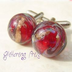Cufflinks Ruby Red With Lampwork Cabochons by GlitteringprizeGlass, £18.00 gift for men cuff links