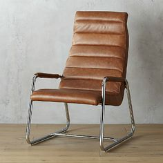 Family Room: Brown leather terreno pleated chair w/chrome legs. Outdoor Dining Chair Cushions, Modern Dining Chairs, Living Room Chairs, Outdoor Seating, Dining Room, Hanging Chair From Ceiling, Eames Chairs, Ikea Chairs, Arm Chairs