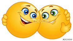 """Descargue el vector libre de derechos """"Hugging emoticons"""" creado por Yael Weiss al precio más bajo en Fotolia.com. Explore nuestro económico banco de imágenes para encontrar el vector perfecto para sus proyectos de marketing."""