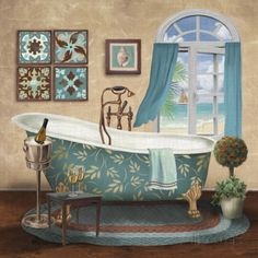 A Little Me Time II by Conrad Knutsen Teal Bathroom Decor Framed Art Print Picture Wall Decor Teal Bathroom Decor, Bathroom Prints, Bathroom Art, Bathroom Drawing, Bathroom Ideas, Bathrooms, Wall Decor Pictures, Bathroom Pictures, Print Pictures