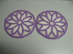 Vintage 40s Crocheted Daisy Lavender Pot Holder Set Country Chic