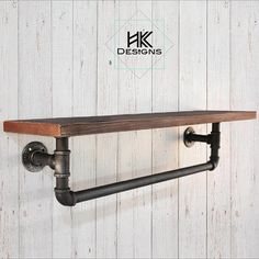 Rustic - Industrial Wood Shelf / Towel Rack - This is a beautiful rustic/modern/industrial shelf that can be used in the living room as decor or - Industrial Pipe Shelves, Industrial Home Design, Vintage Industrial Furniture, Industrial House, Wooden Shelves, Wood Shelf, Modern Industrial, Diy Pipe Shelves, Shelf With Pipe