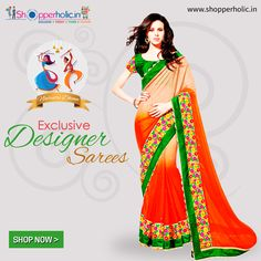 Navratri Dhoom: This Festive Season Try Exclusive Collection of Designer Sarees, Exclusive available at https://www.shopperholic.in/ #navratri #clothing #latest_trends #womens #onineshopping #shopping #designer_sarees #fashion #sarees #discount #offers Shop Now!