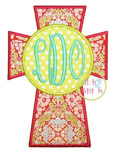 For Hand Towels -- Cross Monogram Applique  by Itch 2 Stitch