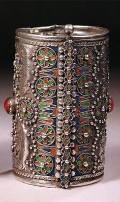 Algeria | Cuff; silver, enamel and coral cabochons | Kabyle Berber people