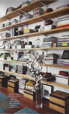 accessible shelving idea from lucky mag's look at madewell designer kin ying lee's loft. Ikea countertops sawed in half lengthwise and mounted on hardware store brackets.