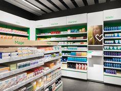 Pharmacy Design | Retail Design | Store Design | Pharmacy Shelving | Pharmacy Furniture | Apotek Hjärtat identity by BVD