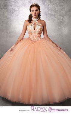 Princess style 4Q487 • Halter tulle quinceanera ball gown with beaded choker, bodice with re-embroidered lace, beads, keyholes, and beaded basque waist line, and back lace-up closure.