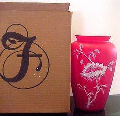 Fenton Sunflower On Red Plated Amberina Vase Connoisseur 9 Fam Signatures LE MIB