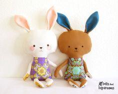 Bunny Rabbit PDF Sewing Pattern Stuffed Toy by DollsAndDaydreams