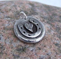 Little Horse Love pendant or charm, Horse Shoe, Heart. $10.00, via Etsy.