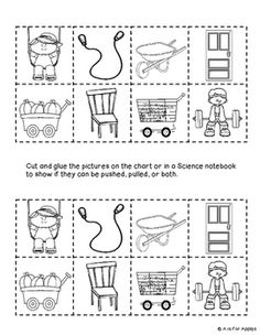 Sample Page Force Motion Push And Pull Picture Sort For Science