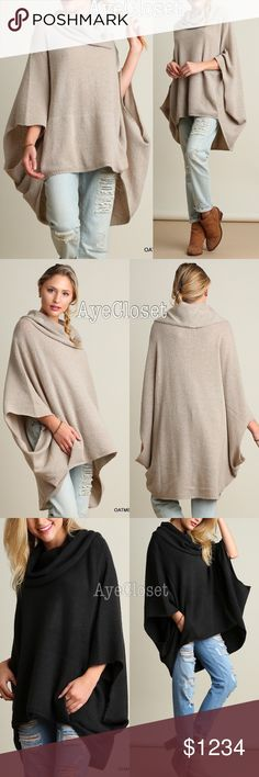 boho chic oversized poncho cape sweater Cowl neck Trendy Oversized loose fit stunning poncho cape cowl neck sweater cardigan.  Sexy Coverup. Pairs with jeans , basic leggings and sexy leathers leggings. Fabric content : cotton 60% and 40%spandex. Lightweight comfy fabric. New with tags.retail item. ‼️️Two colors to choose from dark charcoal or oatmeal. ‼️Price is firm unless bundled‼️ Boutique Sweaters Shrugs & Ponchos