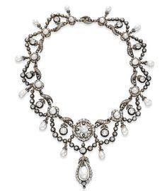 Elizabeth Taylor Auction - Antique Natural Pearl and Diamond Necklace
