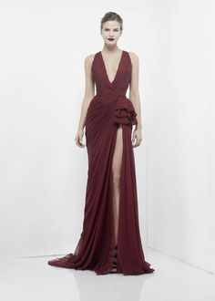 ZUHAIR MURAD REDY TO WEAR  2012 2013. Long evening gown. Dramatic split in the front. Plunging v neckline.