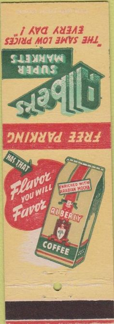 Vintage+Matchbook+Cover+-+Albers+Coffee+Grocery+Store+Cincinatti+OH+Sample+