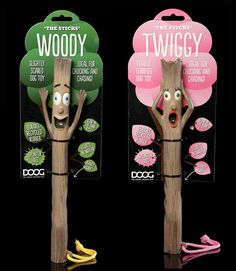 """DOOG: TheSticks -   """"Woody"""" and """"Twiggy"""" are totally terrified branch sticks made from recycled rubber, that floats in water, and glow in the dark, and spliter free. We love the playfulness of the design where the products and the packaging together creates a new image of a tree with leaves."""
