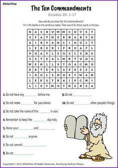 Ten Commandments (Word Search) - Kids Korner - BibleWise
