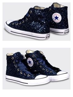 Sparkly Navy Blue Glitter & Crystals Converse All Stars Shoes wedding bride