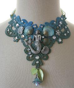 ✯ The Mermaid's Garden Beach Ocean Shell Lace Choker Necklace :: Etsy Shop AngelfishOriginals ✯