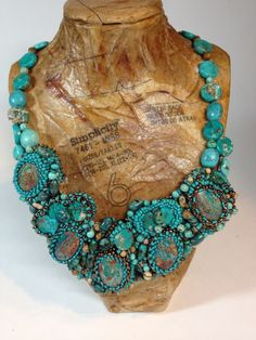 Turquoise Bead Embroidery Necklace by Nina Owens | Project | Jewelry / Necklaces | Kollabora #diy #kollabora #necklace #jewelry