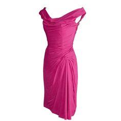 Pre-owned Ceil Chapman 1950s Pink Silk Chiffon Vintage Dress Draping