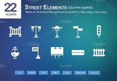 22 Street Elements Glyph Icons by roundicons.com on @creativemarket
