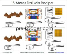 Printable picture recipe for making smores trail mix in your preschool, pre-k, or kindergarten classroom. Perfect for a dramatic play camping theme or end of t rezepte selber machen mix mix bar mix bar wedding mix recipes mix recipes for kids Rebus Recipe For Preschool, Preschool Cooking, Camping Activities, Preschool Activities, Preschool Camping Theme, Preschool Weather, Work Activities, Language Activities, Kindergarten Classroom