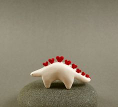 Little Stegosaurus Love Sculpture Miniature Polymer Clay Animal