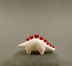 Little Stegosaurus Love Sculpture Miniature by MadeWithClayAndLove, $25.00