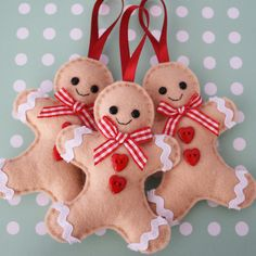 Gingerbread Man Felt Tree Ornaments