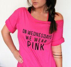 FREE SHIPPING- On Wednesdays We Wear Pink, Off Shoulder Shirt, Off Shoulder Top, (women, teen girls) on Etsy, $31.95