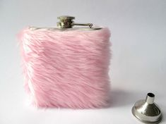 Pink Flask, Girly Flask for Women, Pastel Grunge, Kawaii Furry Cute Womens Hip Flask, Soft Grunge, INCLUDING 6oz FLASK, 21st Birthday
