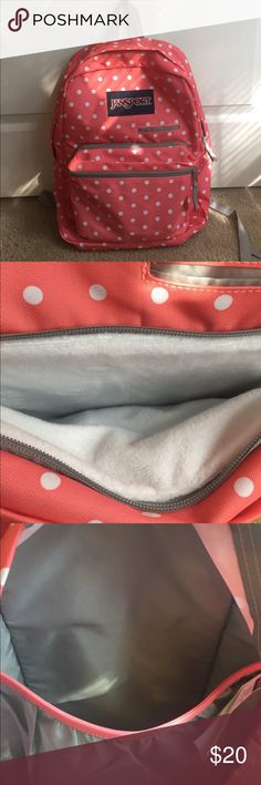 SALE! Jansport backpack, Laptop/tablet Beautiful jansport backpack. It's a pinkish coral color with white dots. All compartments are zipped with the exception of the small pencil/ phone compartment. The smallest one has three 3 pockets inside, the middle compartment is padded and has a soft finish(pictured) for tablets and protection. The main compartment also has a laptop holder that is protected. This is in great condition. Used for about two weeks for only 2 days each week. No…