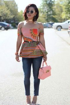 Casual Chic Top (Here) , Shoes (Here) , Bag (Here) , Jeans: Old purchase Fashion Look by Living My Bliss In Style African Print Dresses, African Fashion Dresses, African Attire, African Wear, African Dress, African Prints, African Style, African Inspired Fashion, African Print Fashion