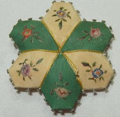 ANTIQUE PIN CUSHION - PATCHWORK CLOTH FLORAL SECTIONS - 6 SECTION - 4 cm | eBay