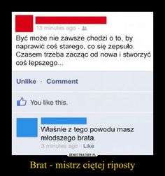Brat - mistrz ciętej riposty – Funny Sms, Wtf Funny, Hello It, Quality Memes, Best Memes, Puns, Haha, Geek Stuff, Jokes