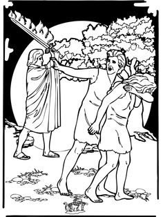 Adam And Eve Catholic Coloring Page Our First Parents Are Driven From The Garden Of