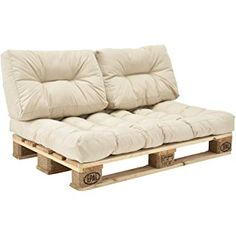 [Encasa] pallet cushions in/outdoor pallets cushion sofa Pallet Couch Cushions, Diy Pallet Sofa, Beige Cushions, Diy Sofa, Diy Pallet Furniture, Recycled Furniture, Balcony Furniture, Euro Palette, Crates