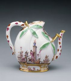 Wine Pot; Studio of Johann Gregor Höroldt (German, 1696 - 1775), Meissen Porcelain Manufactory (German, active 1710 - present); Meissen, Germany; about 1725; Hard-paste porcelain, polychrome enamel decoration, and gilding; 14 × 17 × 8.9 cm (5 1/2 × 6 11/16 × 3 1/2 in.); 85.DE.381; J. Paul Getty Museum, Los Angeles, California
