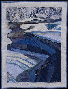 Winter Beauty by Pamela Druhen (Fiber - Pieced) Blue Quilts, Small Quilts, Landscape Art Quilts, Denim Art, Winter Quilts, Textiles, Art Textile, Quilted Wall Hangings, Fabric Art