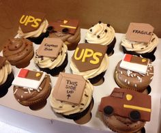 Ups truck shipping company cupcakes Retirement Party Cakes, Truck Cupcakes, Dedication Ideas, Yummy Eats, Let Them Eat Cake, Cake Designs, Baby Shower, Birthday Cakes, Birthday Ideas