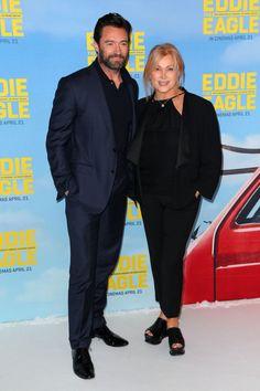 Hugh Jackman and wife Deborra-Lee Furness arrive ahead of the Eddie The Eagle screening at Village Cinemas Crown on March 29, 2016 in Melbourne, Australia.