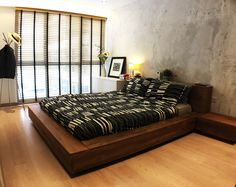 RSDS Architects - Singapore interior design renovation - master bedroom with raw cement wall