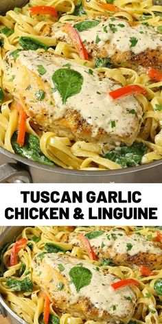 Tuscan Garlic Chicken and Linguine is a simple recipe ready in 20 minutes. Tender and juicy chicken with linguine pasta and … Pasta Recipes, Chicken Recipes, Dinner Recipes, Cooking Recipes, Healthy Recipes, Linguine Recipes, Dinner Dishes, Pasta Dishes, Main Dishes
