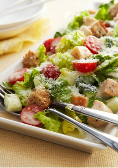 Chopped Chicken Caesar Salad for Two – In this impressive Chopped Chicken Caesar Salad for Two, eating smart and eating deliciously are one and the same.