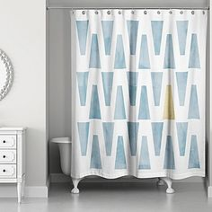 Designs Direct Watercolor Triangles Shower Curtain In Blue