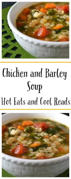 Hearty and full of chicken, tomato and barley goodness! Perfect, quick dinner! Chicken and Barley Soup Recipe from Hot Eats and Cool Reads